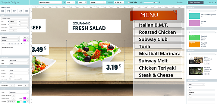 Navori's QL Professional provides an HTML5-based content development application