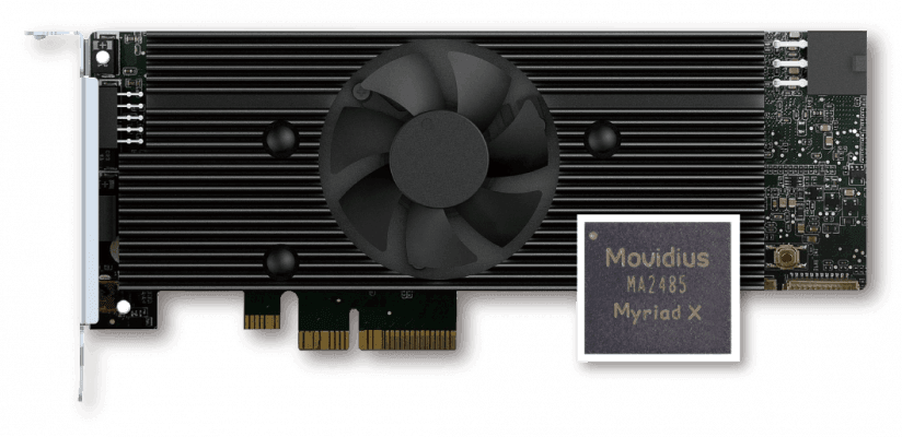 The IEI Mustang V100-MX8 contains eight Intel® Movidius™ Myriad™ X VPUs