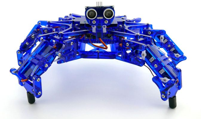 ArcBotics Hexy the Hexapod DIY robotics kit contains 19 servo motors