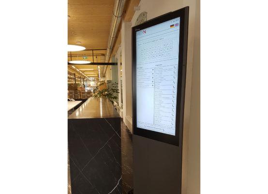 互動式介面會為訪客逐步說明報到流程