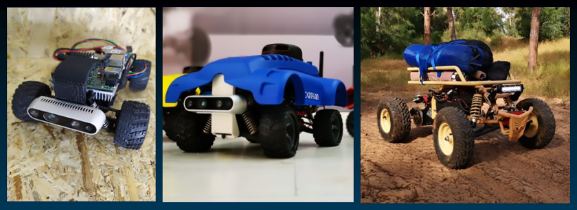 The UP RoboMaker Pro Kit (left) can be used to build a proof of concept (center) that can quickly scale to production (right). (Source: UP)