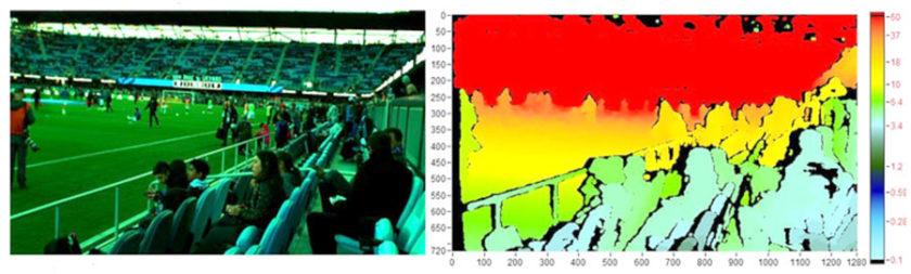 RGB 图像(左)与实感深度摄像头捕获的深度图(右)之间的比较。(来源:英特尔®)