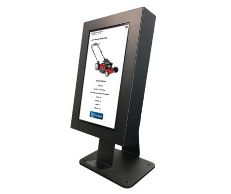 Kiosk displays picture and product information of store item.