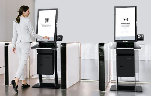 Two standalone kiosks that enable automated visitor check-in.
