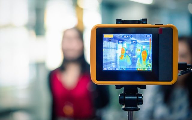 A thermal imaging camera can check individuals for fever even in a group of people while protecting personal privacy.